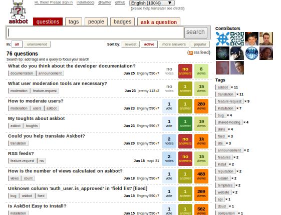 screenshot of askbot made on june 28 2010
