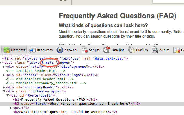 Stock FAQ page in web inspector with <code>meta</code> CSS class in <code>&lt;body&gt;</code> tag called out