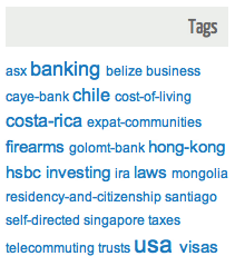 Tag cloud on expat site.