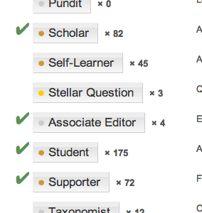 Partial screenshot of badges page, showing Associate Editor nestled between Stellar Question and Student