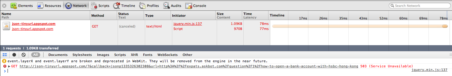 Screen shot of web inspector indicating that the request to json-tinyurl.appspot.com was returning a 503.