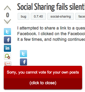 "Screenshot of question voting controls with error displayed:  ""Sorry, you cannot vote for your own posts"""