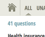 "Screen shot of text ""41 questions"" on homepage"