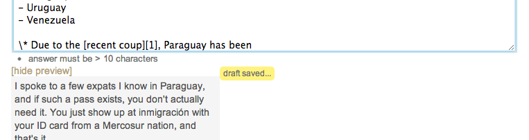 "Screenshot of ""draft saved"" element pushing all content to the left"