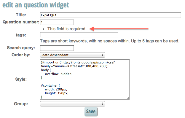 """edit an question widget"" showing Tags field is required."